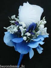 Royal Blue Wrap Stem White Rose Bud Flower Boutonniere Wedding Prom Groomsmen