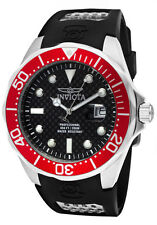 New Mens Invicta 12561 Pro Diver Black Carbon Fiber Dial Polyurethane Watch