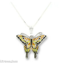 "Zarah Zarlite Tiger Swallowtail BUTTERFLY NECKLACE Silver Plated Enamel 18""  Box"