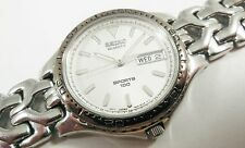 Seiko Sports Silver Tone Stainless Steel 7N43-6C0W Sample Watch NON-WORKING