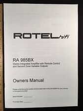 Rotel RA985BX Stereo Integrated Amp ORIGINAL Owners Manual 7 Pages RA-985BX