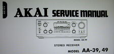 AKAI AA-39 AA-49 STEREO RECEIVER SERVICE MANUAL INC SCHEMS PRINTED BOUND ENGLISH