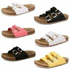Womens Ladies Flat Summer Buckle Sandals Footbed Moulded Beach Flip Flop Shoes