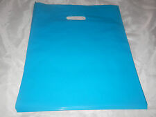 100 12x15 inch Glossy Teal Blue Low-Density Plastic Merchandise Bags w/Handles