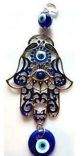 Hamsa Hand Evil Eye Protection Wall Hanging Metal & Blown Glass Blue 8 in