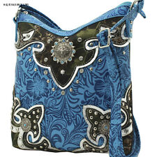 FML30 BLUE CAMO WESTERN RHINESTONE BAG HIPSTER BODY STYLE PURSE CONCEALED WEAPON