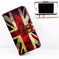 UK Flag Skin Card Wallet Flip Leather Cover Case For Apple iPhone 4 4S 4G 4GS