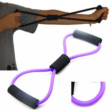 Purple Home Office Sport Fitness Yoga 8 Shape Pull Rope Tube Equipment Tool Gym