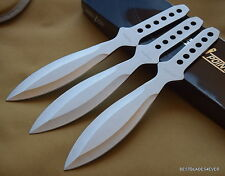 """9"""" OVERALL PERFECT POINT 3MM SILVER THROWING KNIVES W/ NYLON SHEATH - 3 PCS SET"""