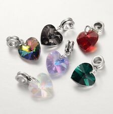 50 pcs Large Hole European Dangle Beads with Electroplated Glass Heart Pendants