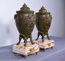 *Pair of Antique French Louis XVI Marble & Bronzed Spelter Vases/Urns