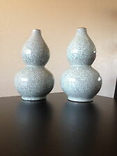 Large Chinese Jingdezhen Crackle Glaze Pair Porcelain Double Gourd Vases China