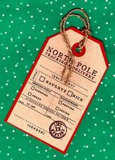 6 Santa Delivery Tracking Christmas North Pole Gift Tag Brown Kraft Card Stock