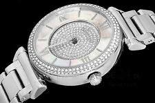 NEW Michael Kors Women's CAITLIN MK3355 Silver Crystal Glitz Pave Pearl Watch