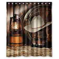 Custom American West Rodeo Cowboy Waterproof Polyester Fabric Shower Curtain