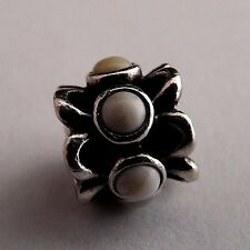 "PANDORA STERLING SILVER ""FORGET-ME-NOT"" WHITE AGATE CHARM 790470AGW"