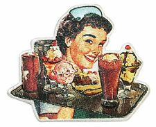 50's Retro Diner Waitress Tray Full of Treats Embroidered Iron On Applique Patch
