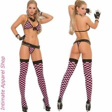 3 Piece Set: Checkered String Bra Thong Panties Stockings Lingerie OS S M L XL