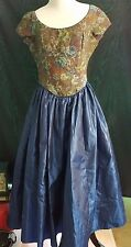 NEW 80s Vintage LAURA ASHLEY Blue Floral Satin Dress Full Skirt Size 8 USA Prom