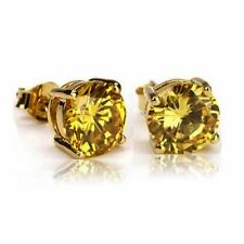 14k gold over 925 SS Canary Yellow Diamond Alternatives Stud Earrings