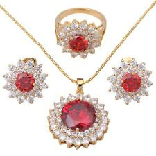 Red Garnet 18k gold Filled Fashion jewelry set Earring Necklace Ring #9 JS101