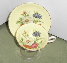Royal Grafton Footed Tea Cup and Saucer Set Yellow & Rose Floral Pattern