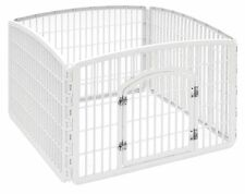 Iris Dog Pet Exercise Play Pen Fence Yard Kennel Gate Cage White Lawn Safe Steel