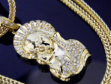 Gold Virgin Mary Jesus Piece Pendant Franco Chain Necklace Hip Hop Iced Out NEW