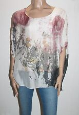 Victoria Barcelona Designer Silk Floral Butterfly Print Blouse Size M BNWT #SO30