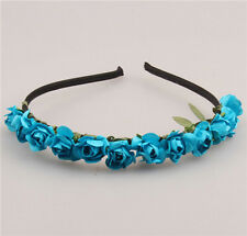 Boho Bride bridesmaid crown Blue Flower headband hair garland festival wedding
