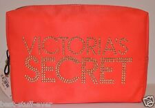 VICTORIA'S SECRET RED STUD LARGE MAKEUP COSMETIC CASE BAG POUCH TRAVEL GLITTER
