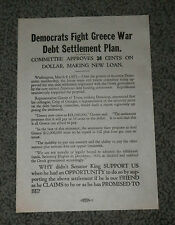 1924 DEMOCRATS FIGHT GREECE DEBT SETTLEMENT PLAN 1924 Political