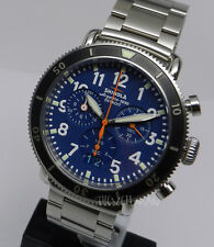 Mens American Made & Swiss Shinola Runwell Sport Blue Chronograph 41mm Watch