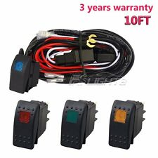 12V Wiring Harness Kit With LED Light Bar Laser Rocker Switch+Relay for 2 Lights