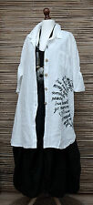 LAGENLOOK*SARAH SANTOS*LINEN OVERSIZE AMAZING LONG JACKET/SHIRT*WHITE*XL-XXL