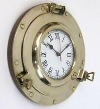 "NAUTICAL NAVIGATION MARINE Brass SHIP PORTHOLE Battery Quartz WALL CLOCK 11"" New"