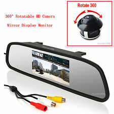 "Car Rear 360° Rotatable Camera + Rearview Mirror Display Monitor 4.3"" LCD Screen"