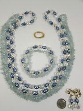 Lee Sands Wardrobe Set Aquamarine and Pearls Twister Necklace/Bracelet/Earrings