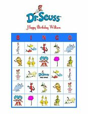 Dr. Seuss Cat in the Hat Lorax Personalized Birthday Party Game Bingo Cards