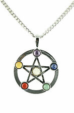 New Pentagram Star of David Chakra Natural Stone Pendant Adjustable Necklace