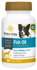 Petnology Fish Oil For Dogs Skin & Coat Vitamin A, D, E Helps with Shedding 90ct