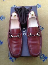 Gucci Mens Shoes Brown Leather Horsebit Loafers Driver UK 6.5 US 7.5 40.5 Carbon