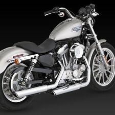 04-13 V&H Chrome Twin Slash Slip-On Exhaust: HARLEY SPORTSTER 883 & 1200 (16839)