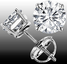 1.00 CT G-H VS GENUINE ROUND DIAMOND STUD EARRINGS 14K WHITE GOLD 100% NATURAL