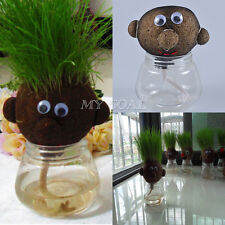 Mini Magic Grass Plant Pot Head Doll Children Kids Education Toy Craft DIY Gift