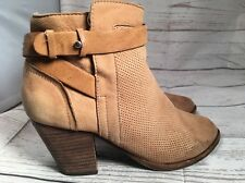 Dolce Vita DV Tan Brown Perforated Leather Ankle Boots Booties Sz 7.5