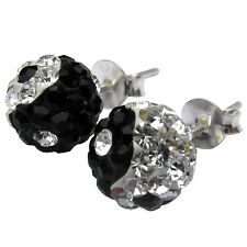 Pair Of Sterling Silver 92  Sparkly Ying Yang  (12 mm ) Ear Studs  !!    New  !!