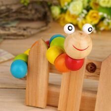 Wooden Twisty Wiggly Worm Multicolour Sensory Wood Bead Developmental Toy OE