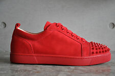 Christian Louboutin Louis Junior Spikes Flat Suede Red/Oeillet 7 UK 41 EUR