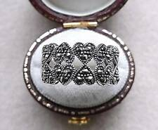 Chunky Genuine Silver & Marcasite Double Row Heart Ring - Size P/Q